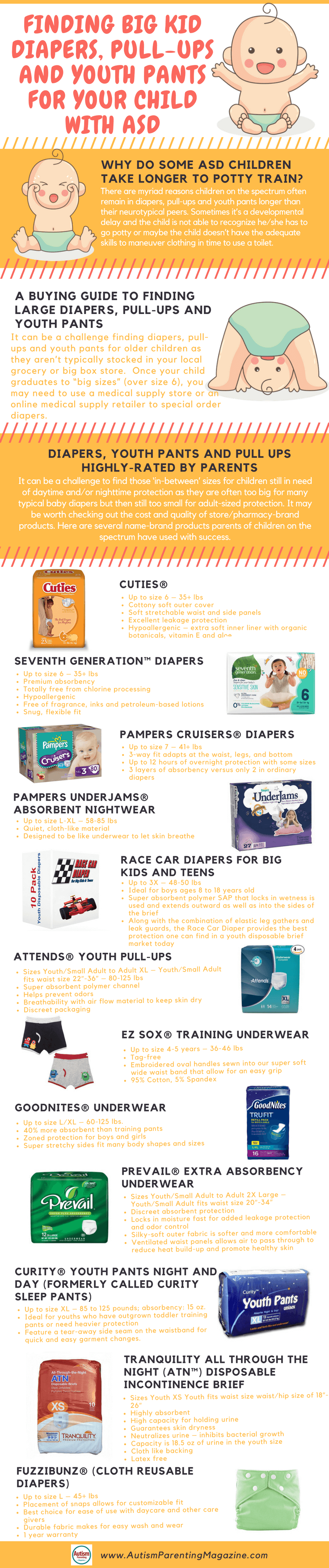 Finding Big Kid Diapers, Pull-Ups and Youth Pants For Your Child with ASD