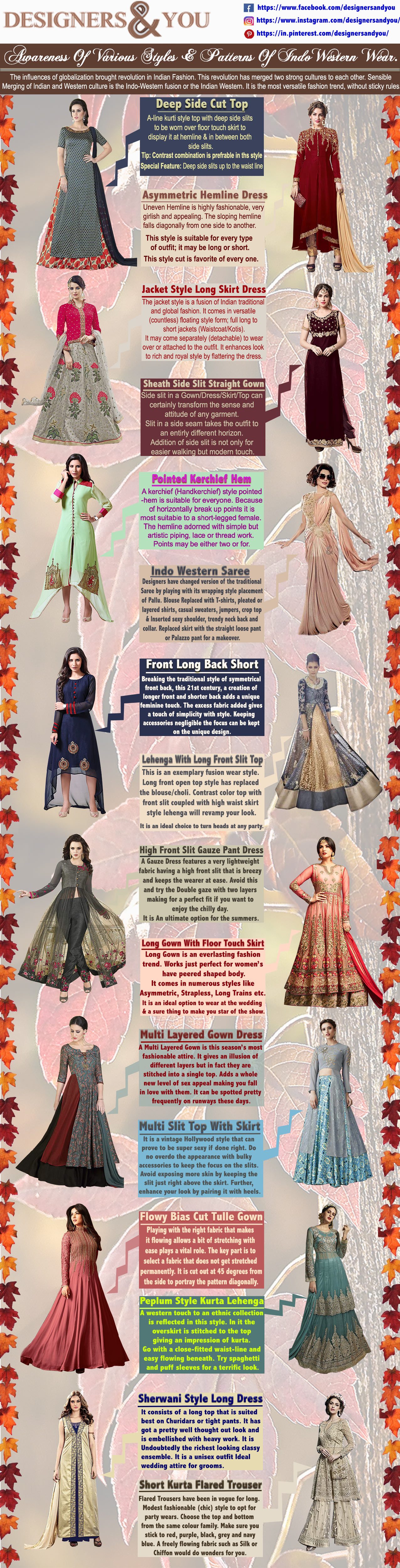 Woman's Designer Indian Indo Western Gown Dresses & Kurtis Styles-2018-infographic-plaza