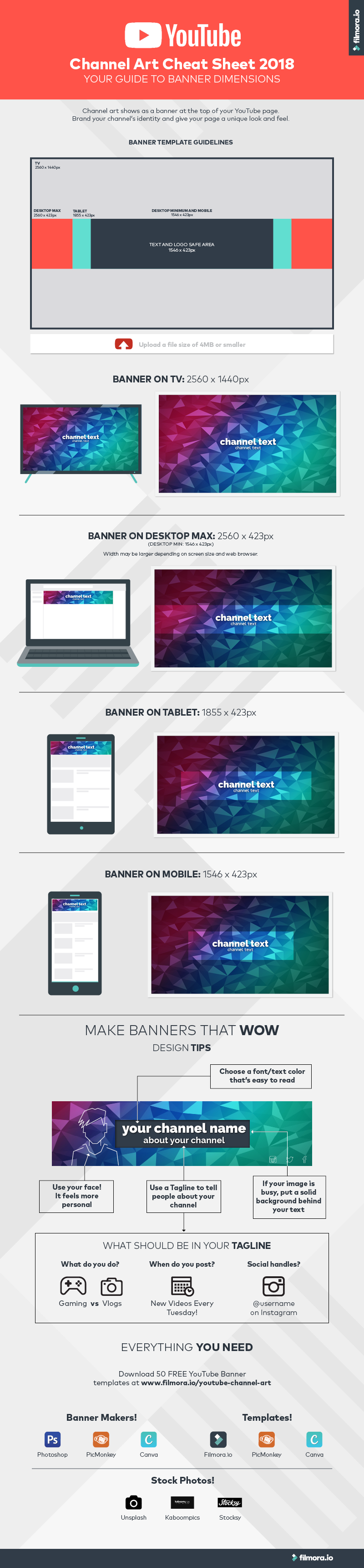 YouTube Channel Art Cheat Sheet 2018